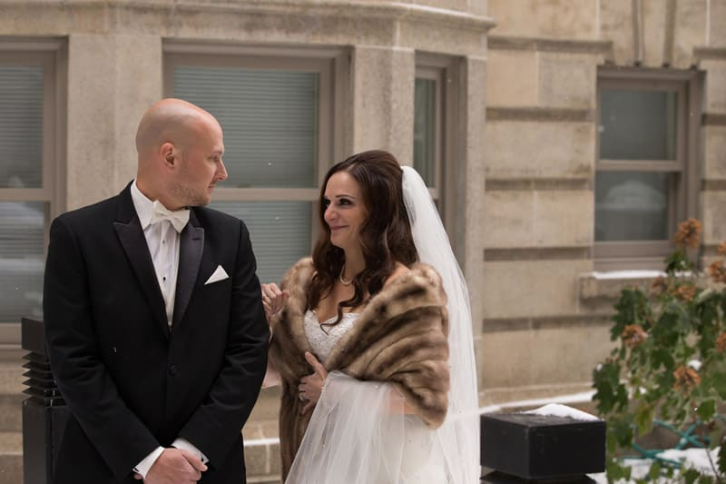 groom sees bride for first time on wedding day at park lane