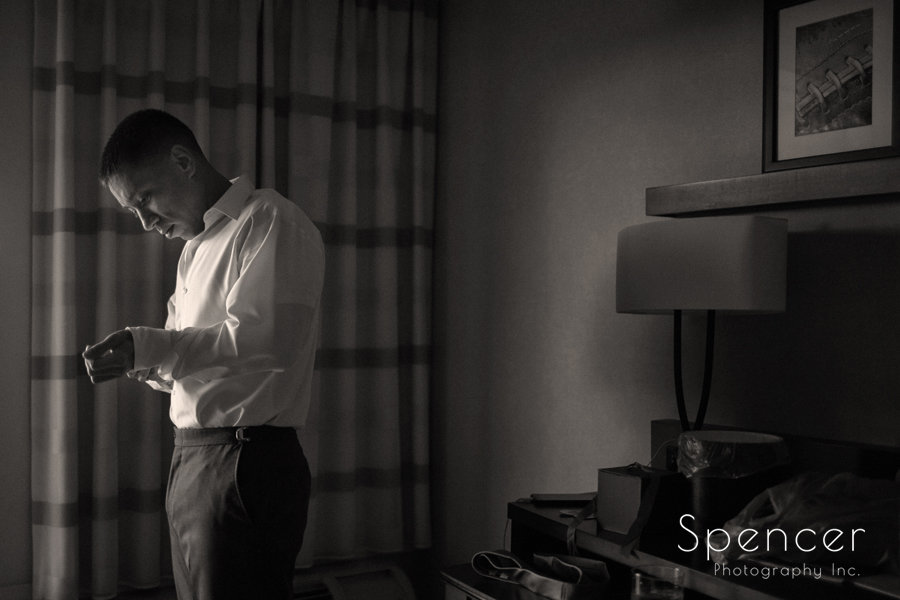 Groom getting dressed for his wedding in Canton, Ohio