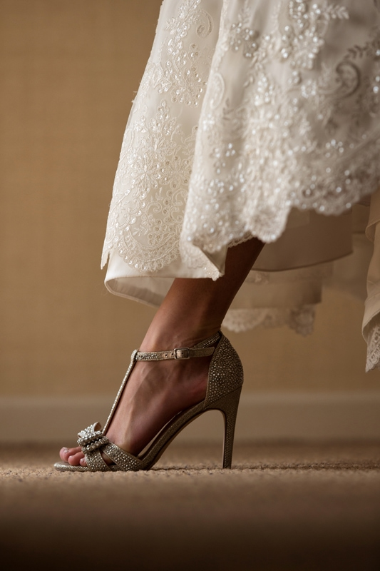 detail picture of brides shoes