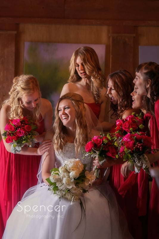 wedding picture of bridesmaids at thorncreek winery