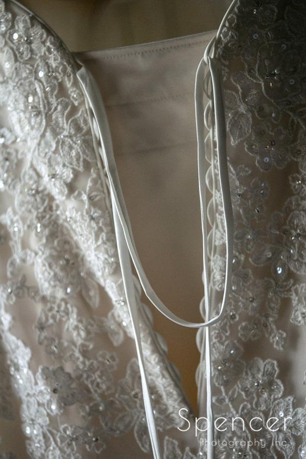 detail of back of wedding dress