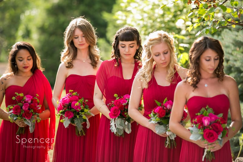 bridesmaids at thorncreek winery wedding ceremony