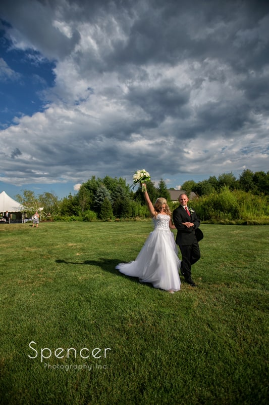 bride and groom celebrate their marriage at thorncreek in aurora
