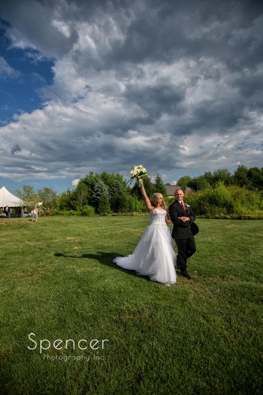 bride and groom celebrate their marriage at thorncreek in aurora