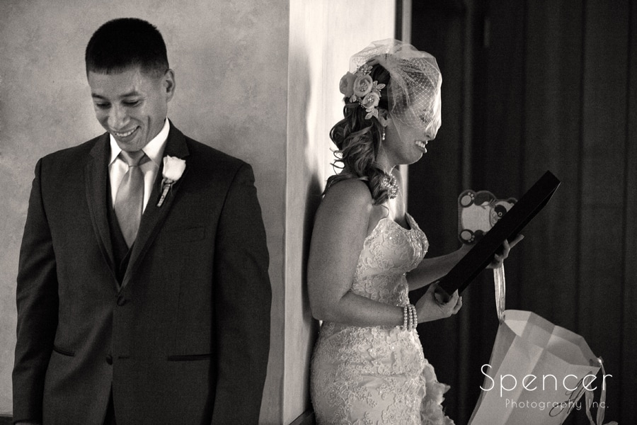 bride and groom share a moment on their wedding day in Canton