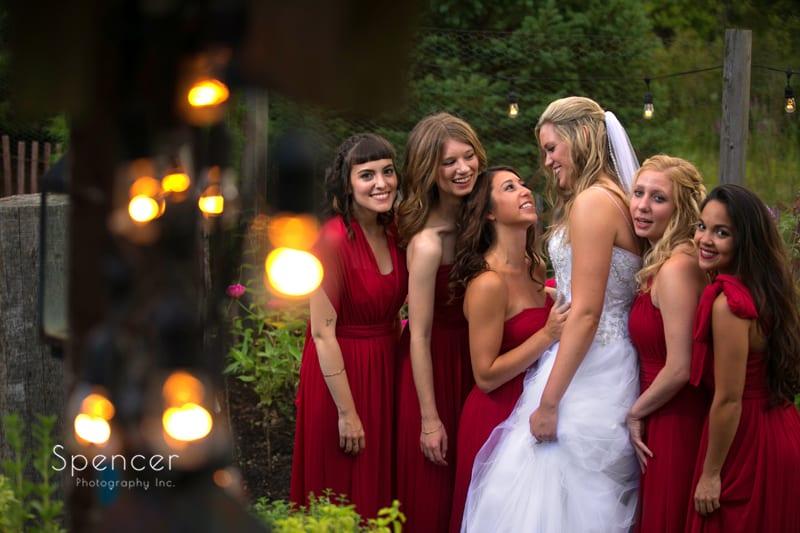 bridesmaid laughing at thorncreek winery wedding reception