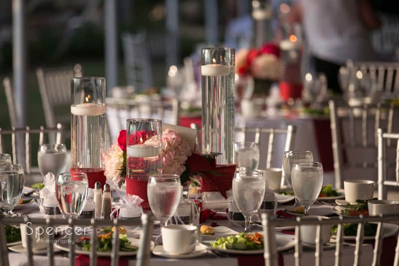wedding reception table at thorncreek winery