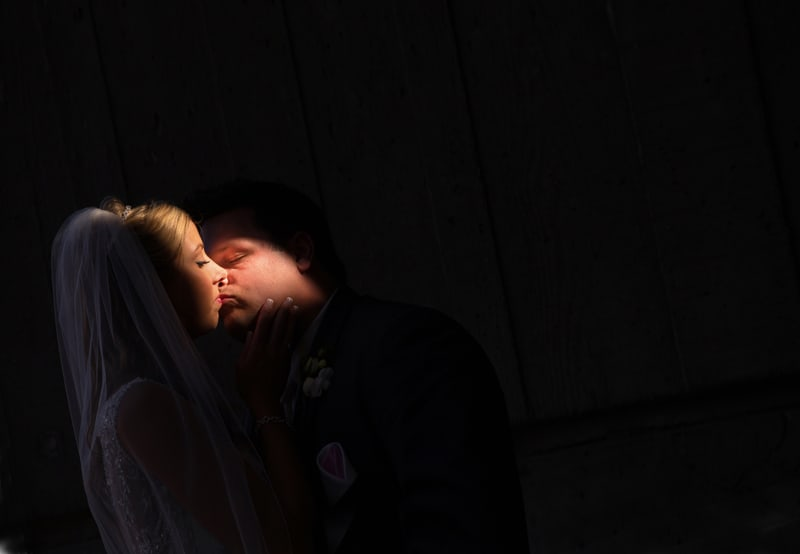 dramatic light wedding day picture