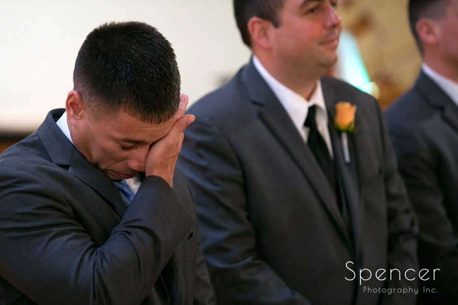 groom crying on altar of his Canton wedding