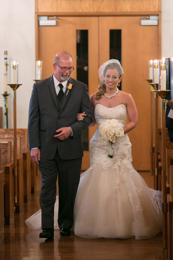 bride and dad walking down aisle of Canton church