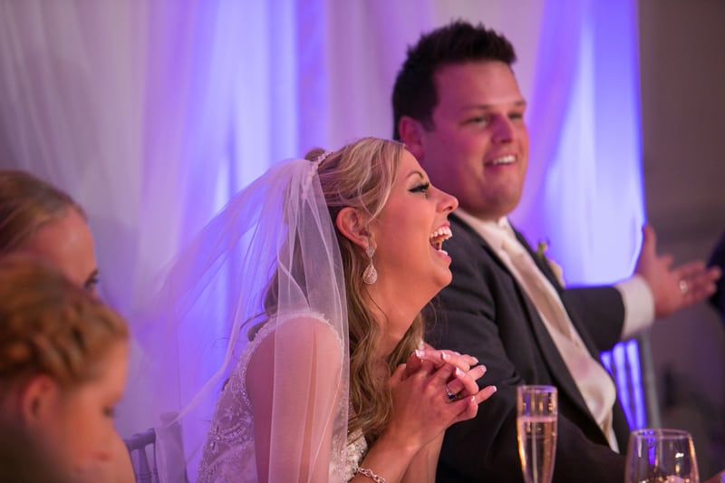 bride laughing at maid of honor speech a sheraton cuyahoga falls