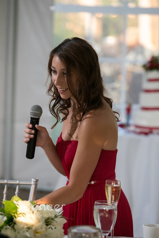 maid of honor giving speech at thorncreek winery wedding reception