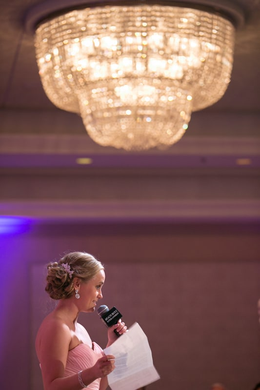 maid of honor giving speech a sheraton wedding reception