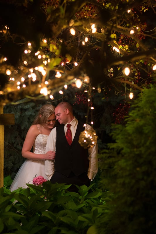 late night wedding picture of bride and groom at thorncreek winery reception