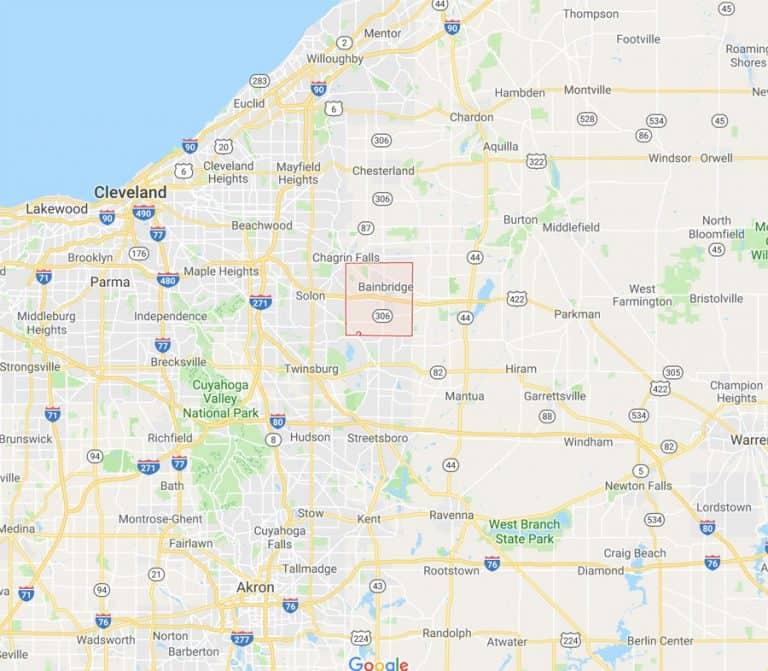 Map of Bainbridge Ohio