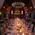 a long kings table at wedding reception at Glenmoor