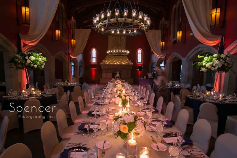 a long kings table at wedding reception at Glenmoor