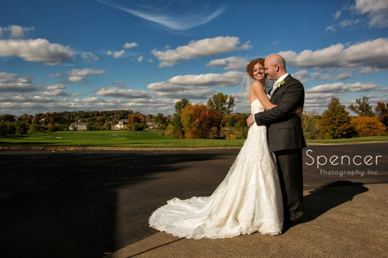 beautiful fall wedding picture behind Glenmor Country Club