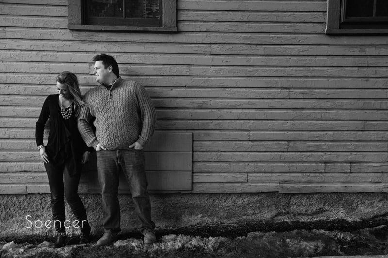 black and white engagement picture in hudson ohio