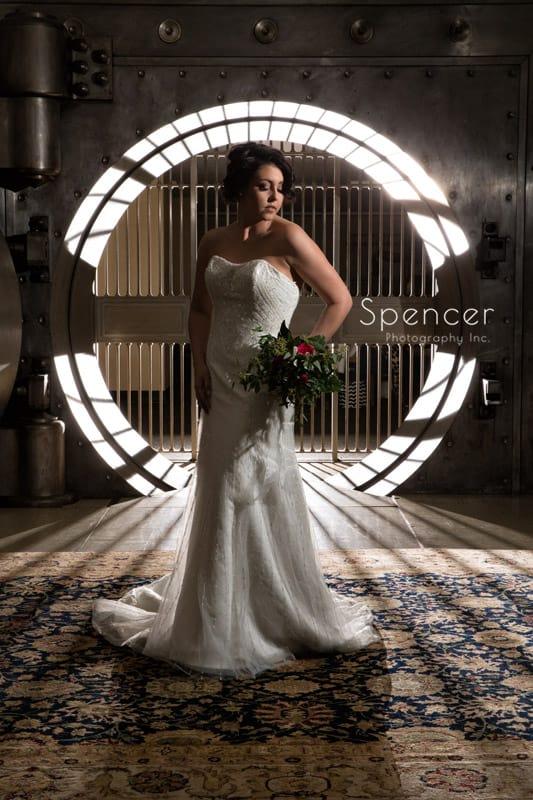 bride in wedding dress at crop bistro
