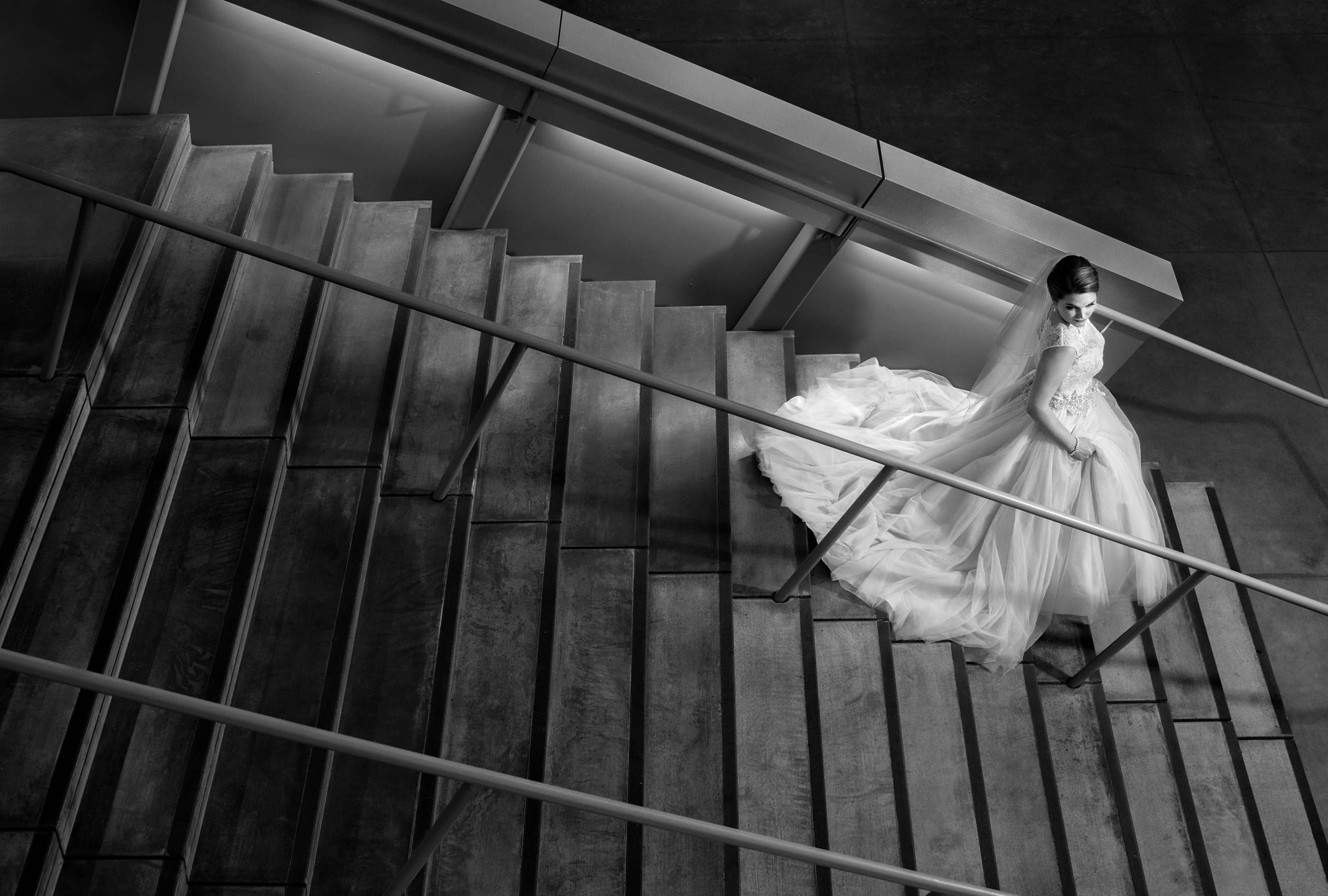 bride on stairs of akron art museum