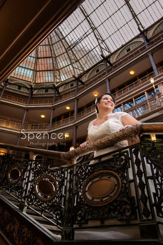bride on the staircase of Cleveland Arcade