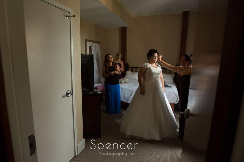 bride preparing for wedding at cleveland arcade
