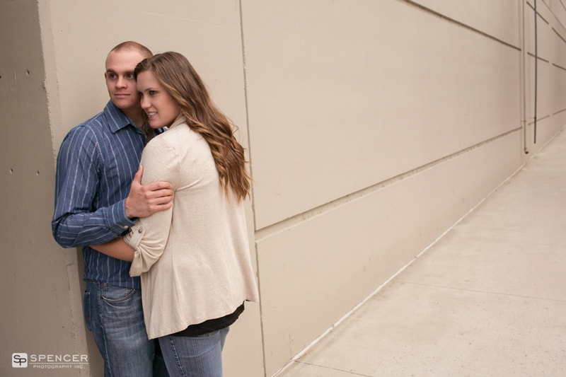 engagement picture against wall in louisville kentucky