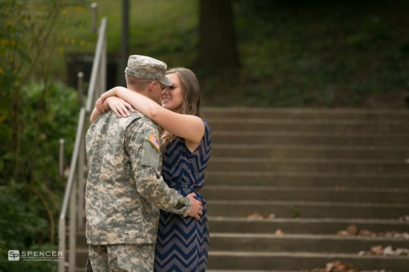 engagement pictures in louisville kentucky in front of steps
