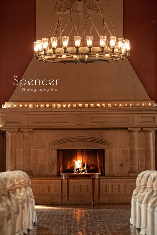 fireplace in wedding chapel at glenmoor country club