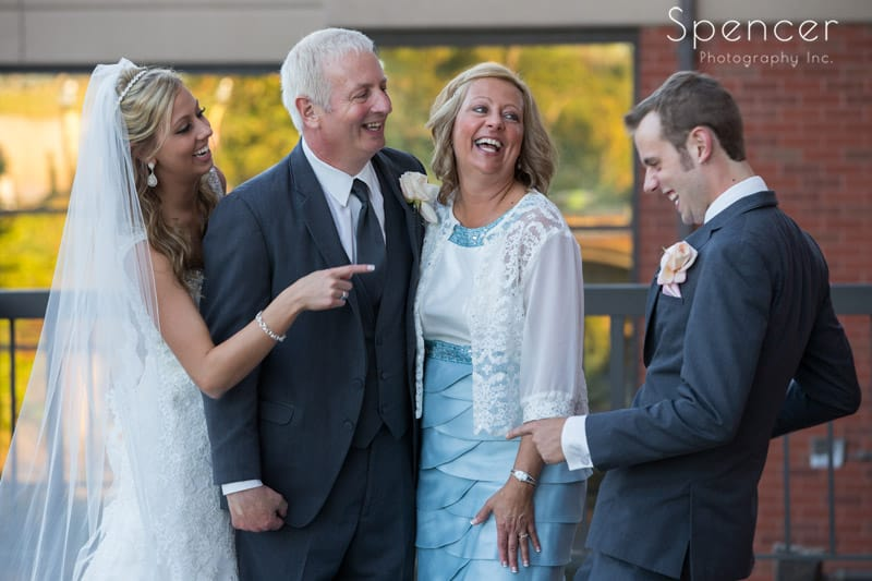 funny wedding day family picture at sheraton in cuyahoga falls
