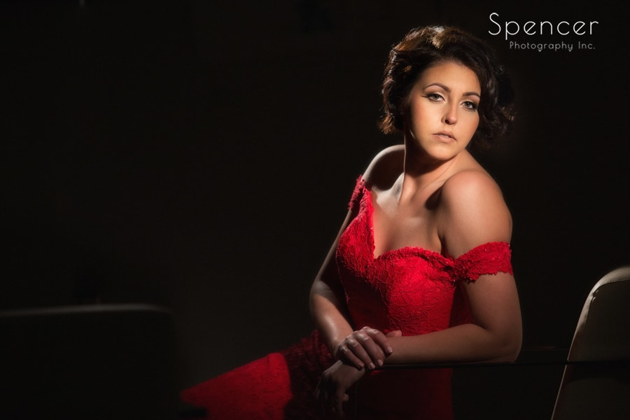 hollywood portrait of lady in red at crop bistro cleveland