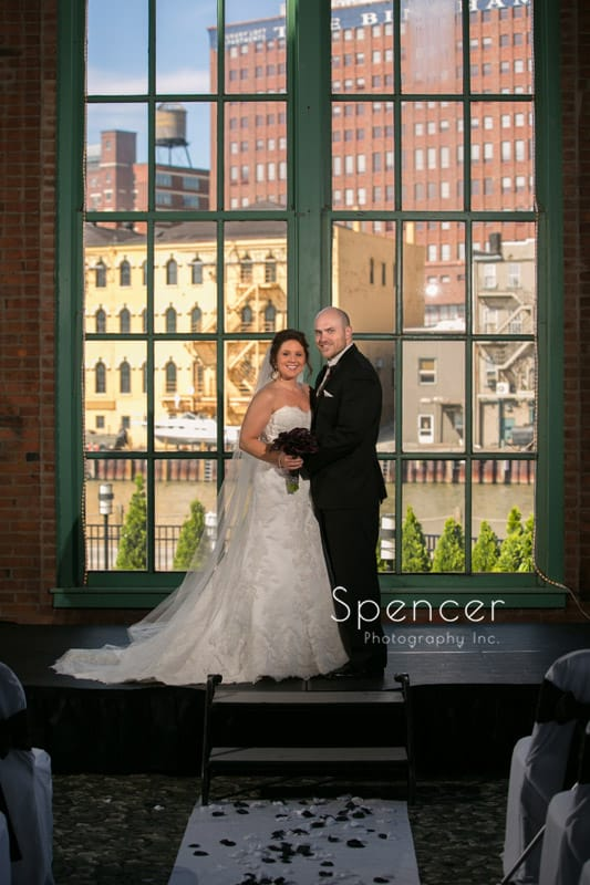 traditional wedding portrait at windows on the river Cleveland