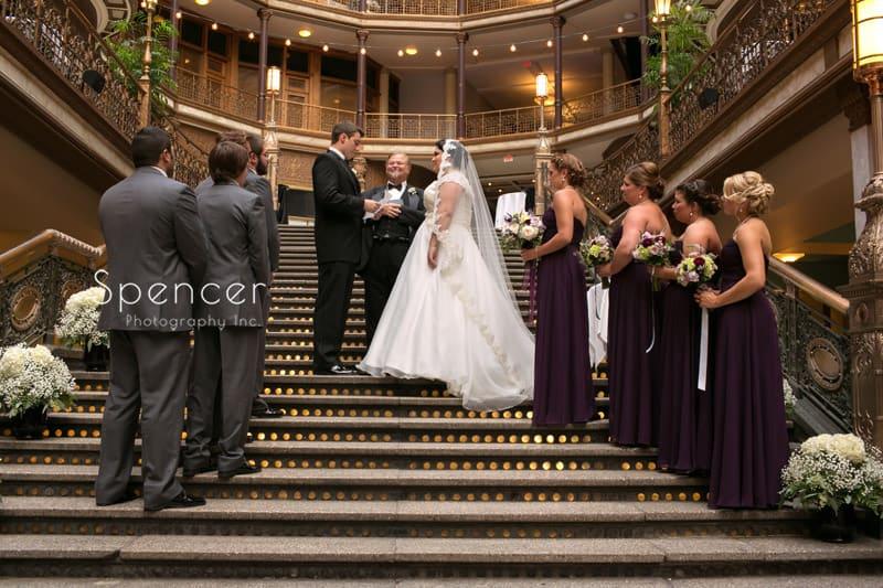 wedding ceremony on steps of cleveland arcade