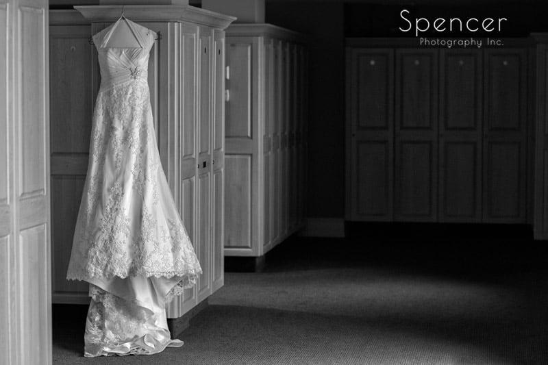 wedding dress in locker room of glenmoor country club