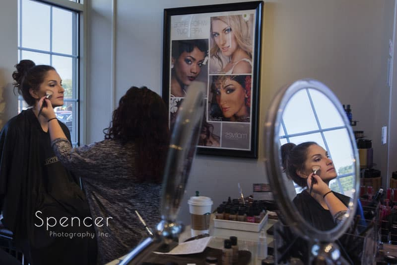 picture with reflection of bride at canton salon