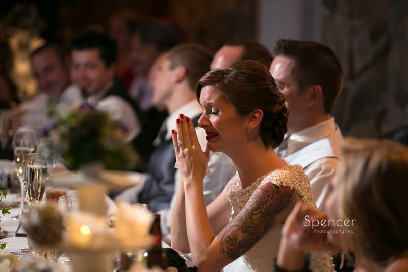 bride gets emotional during fathers reception speech at 100th Bomb Group