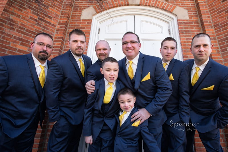 groomsmen picture outside Chagrin Falls Church