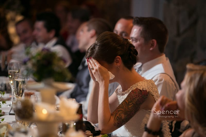 bride cries after dads wedding reception speech