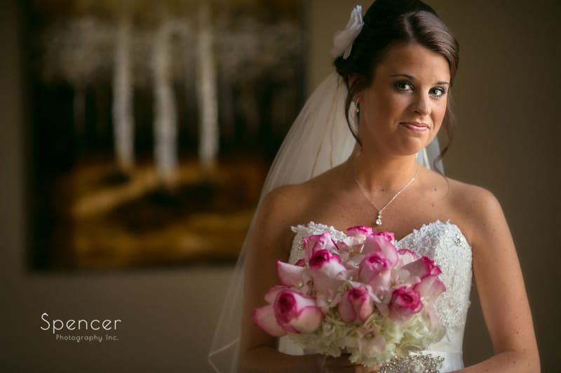 wedding picture of bride holding bouquet