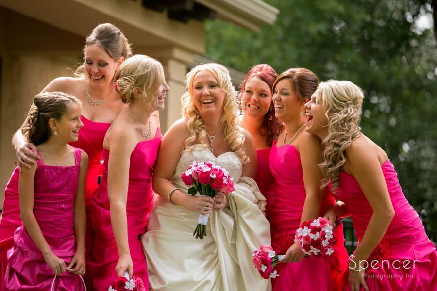 bridesmaids laughing at wedding at Gervasi in Canton
