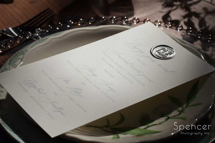 side angle picture of cleveland wedding reception table setting