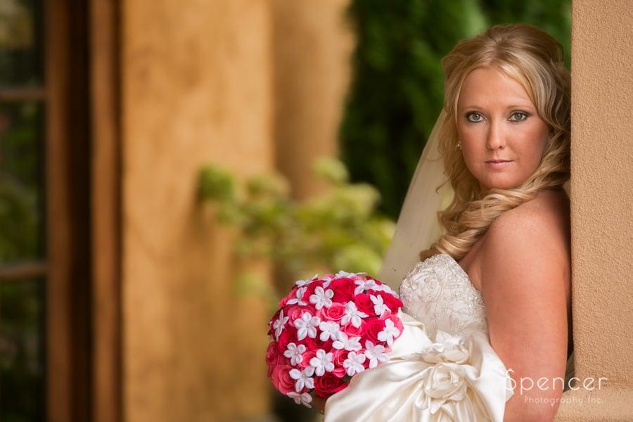 wedding picture of bride outside at Gervasi Vineyard