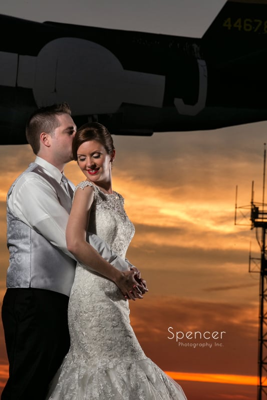 dramatic wedding picture at reception at 100th Bomb Group