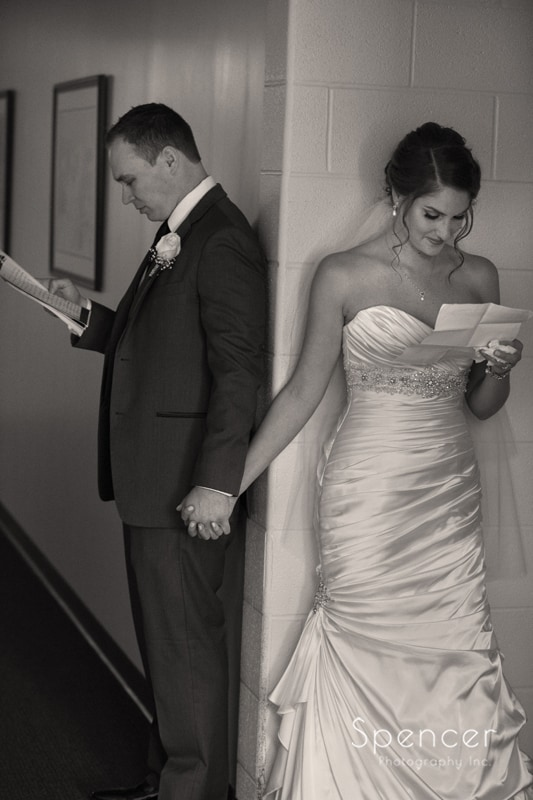 first look for bride and groom at Church on the Lakes Canton