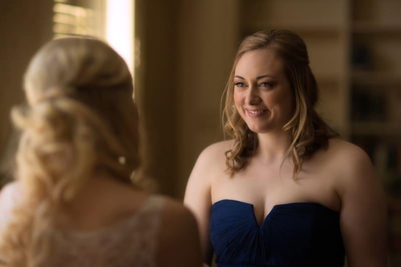 brides sister talking to bride