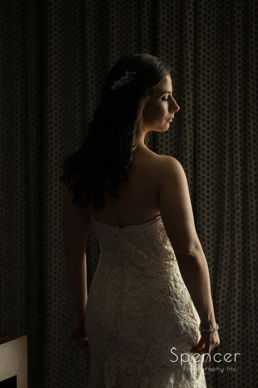 dramtic wedding picture of bride at Westin Cleveland