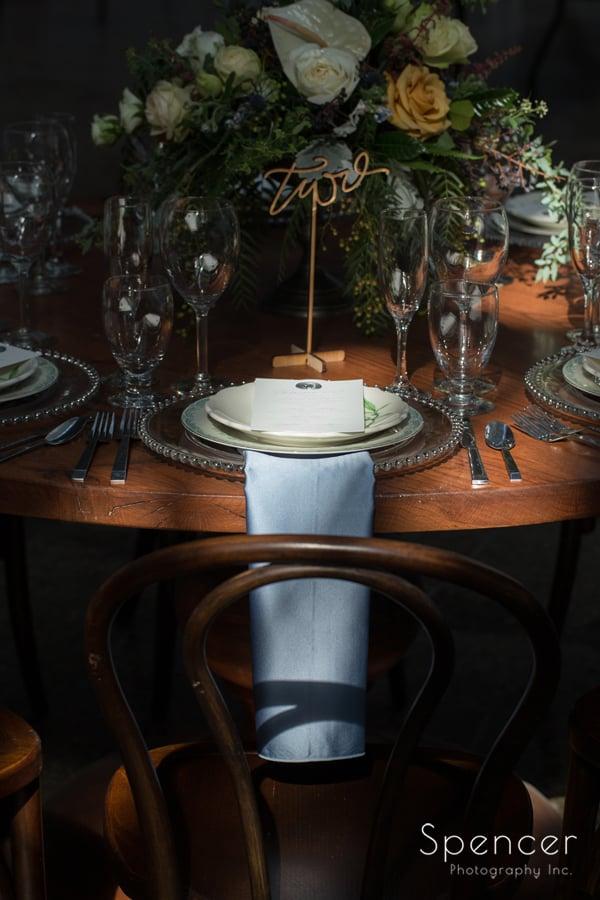 spotlit reception table at Cleveland Madison