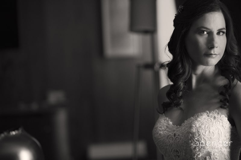 black and white picture of bride at Westin Cleveland