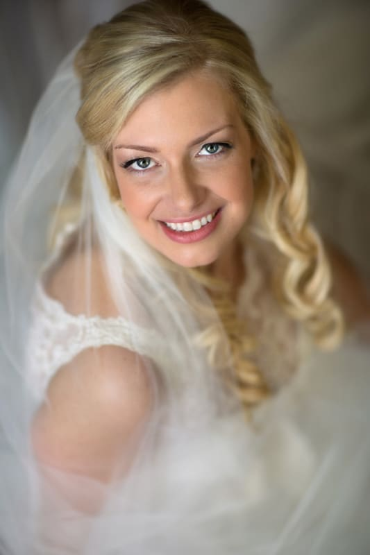 wedding day picture of Chagrin Falls bride